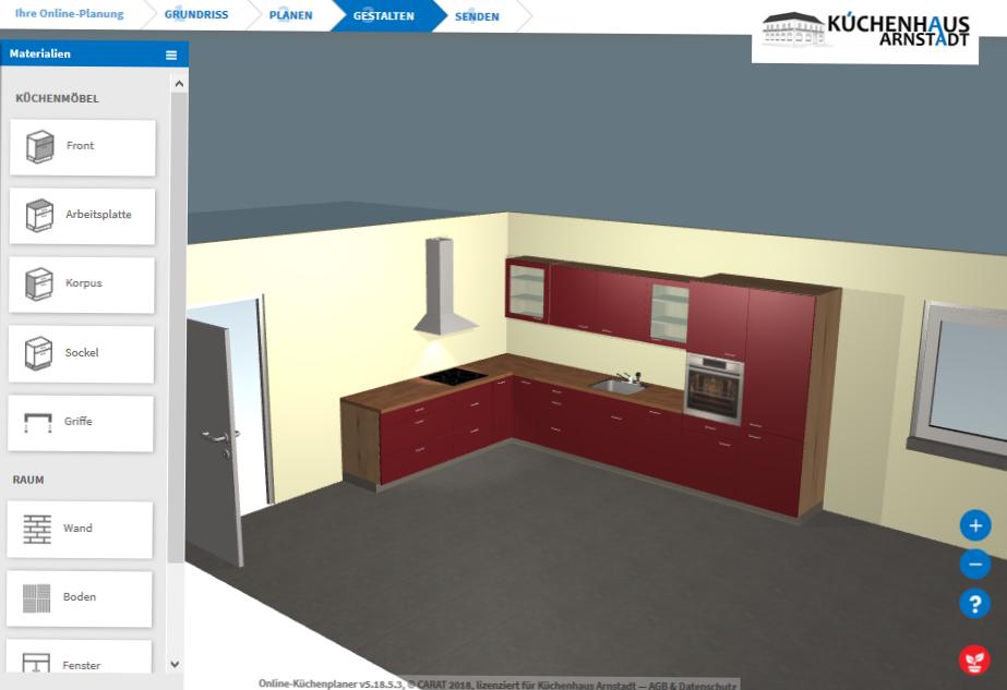 Screenshot Online Küchenplaner Küchenhaus Arnstadt